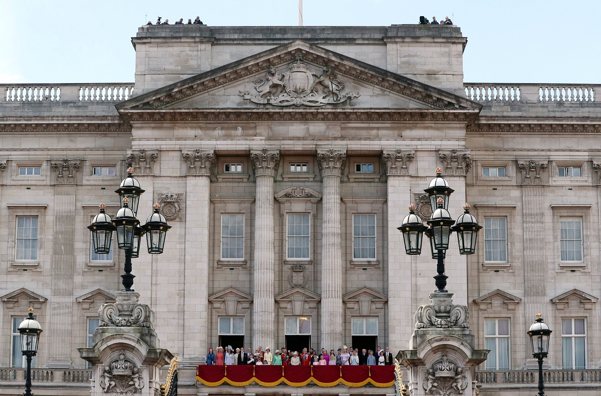 Britain's Queen Elizabeth, Prince Charles, Prince William and Catherine, Duchess of Cambridge, along with other members of the British royal family, appear on the balcony of Buckingham Palace as part of Trooping the Colour parade in London, Britain June 8,