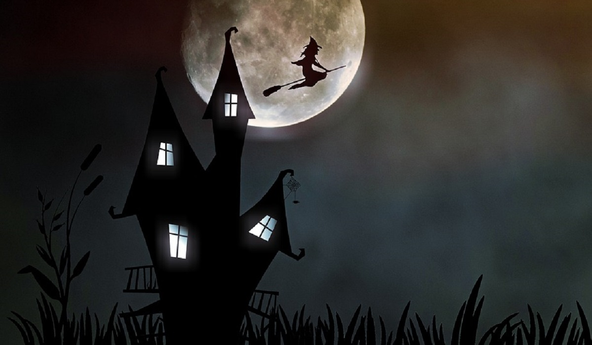 Casa Da Bruxa A Bruxa Luar Assustador Halloween