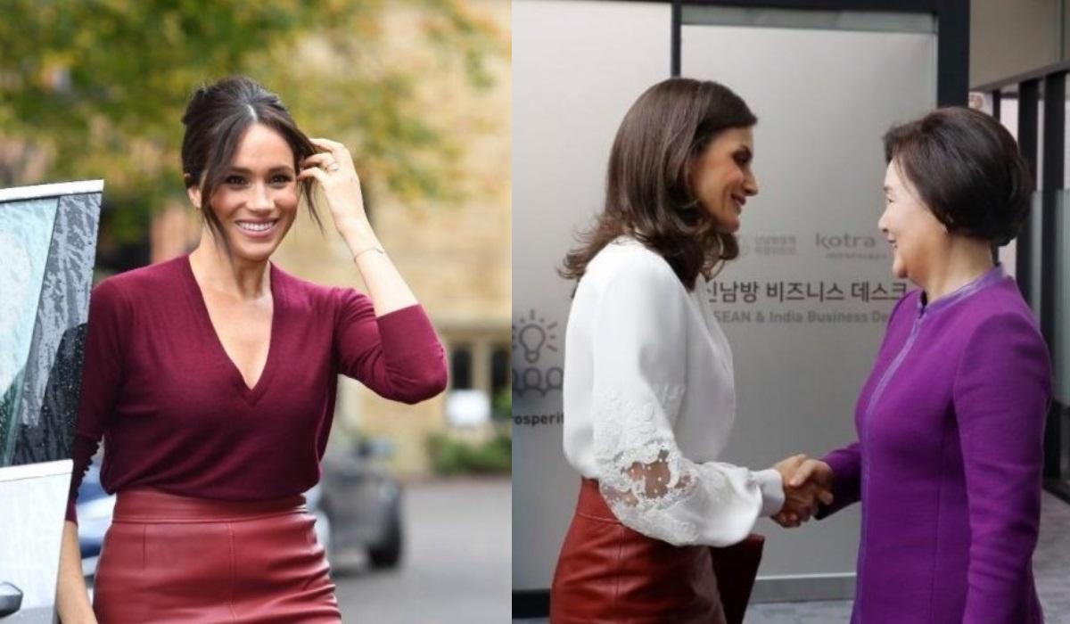 Meghan Markle e Letizia usam a mesma saia em apenas 24 horas