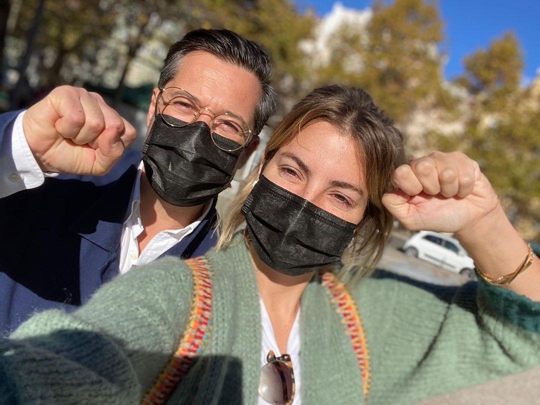 Jessica Athayde e Filipe Vargas na manifestação pela Cultura